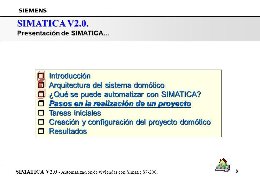7 SIMATICA V2.0. ¿Qué se puede automatizar con SIMATICA? SIMATICA V2.0 - Automatización de viviendas con Simatic S7-200. Gestión de alarmas Detección