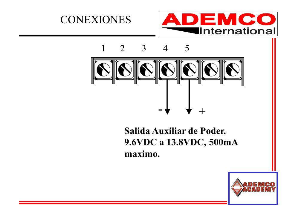 12345 Salida Auxiliar de Poder. 9.6VDC a 13.8VDC, 500mA maximo. + - CONEXIONES