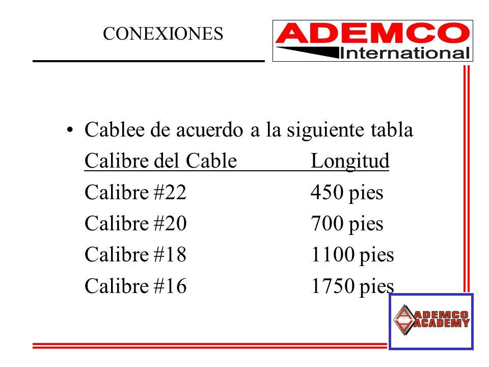 Cablee de acuerdo a la siguiente tabla Calibre del CableLongitud Calibre #22 450 pies Calibre #20 700 pies Calibre #18 1100 pies Calibre #16 1750 pies