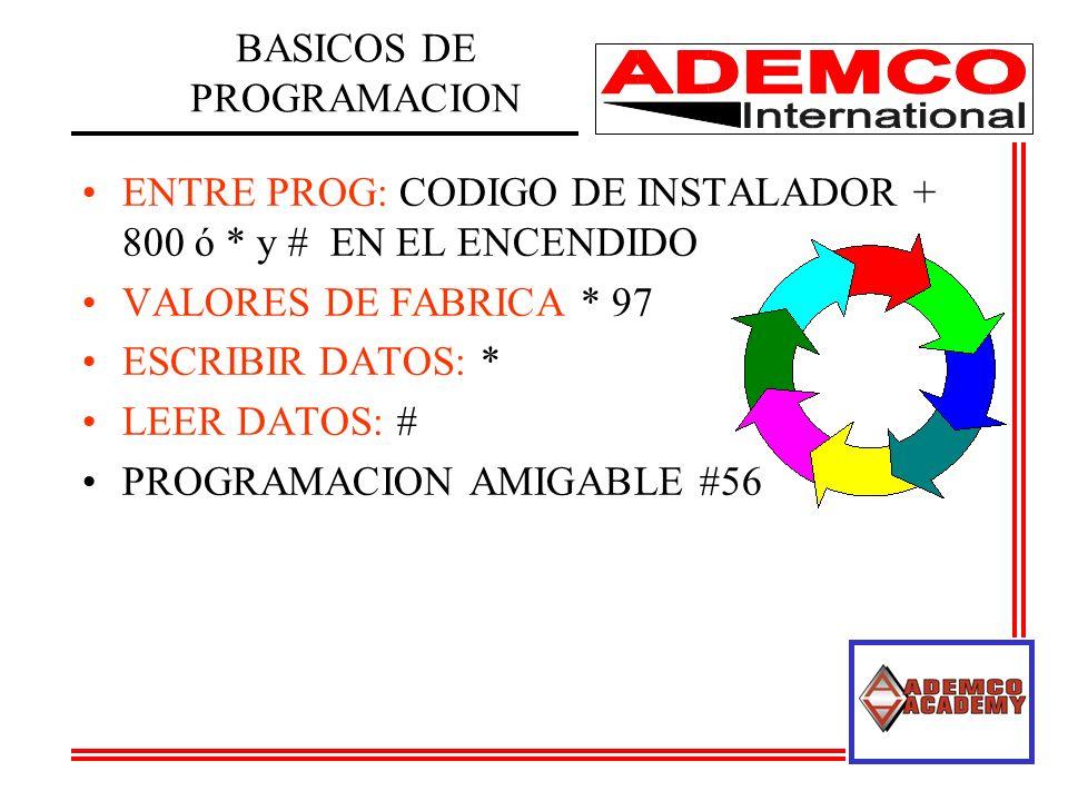 ENTRE PROG: CODIGO DE INSTALADOR + 800 ó * y # EN EL ENCENDIDO VALORES DE FABRICA * 97 ESCRIBIR DATOS: * LEER DATOS: # PROGRAMACION AMIGABLE #56 BASIC