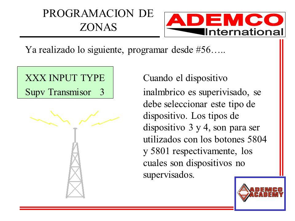 Ya realizado lo siguiente, programar desde #56….. XXX INPUT TYPECuando el dispositivo Supv Transmisor 3inalmbrico es superivisado, se debe seleccionar