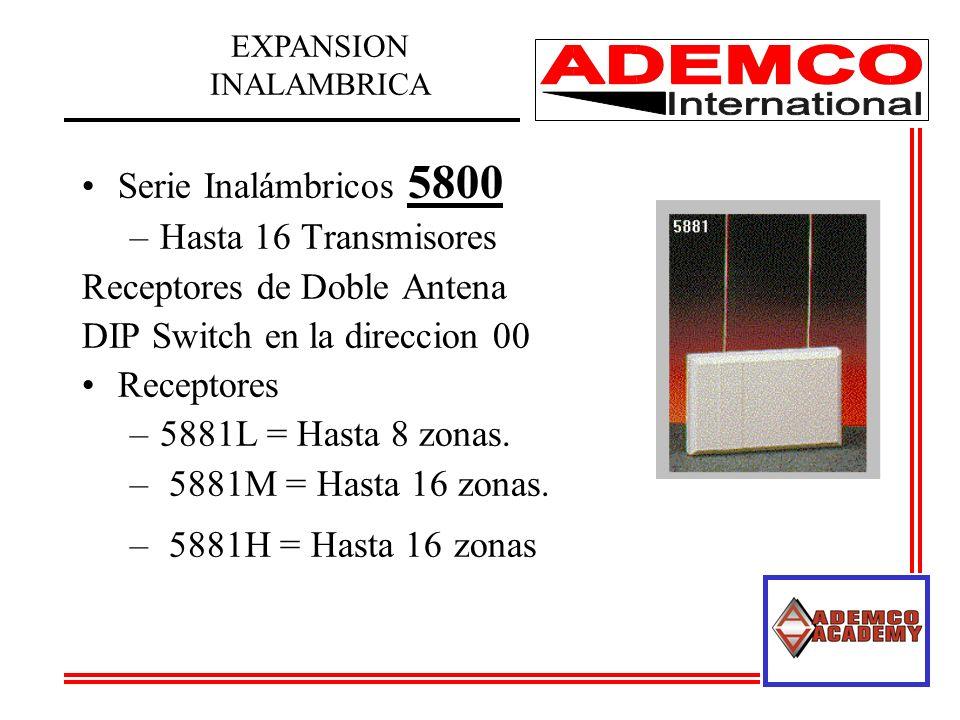 Serie Inalámbricos 5800 –Hasta 16 Transmisores Receptores de Doble Antena DIP Switch en la direccion 00 Receptores –5881L = Hasta 8 zonas. – 5881M = H