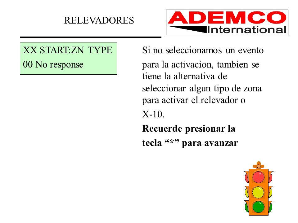 RELEVADORES XX START:ZN TYPESi no seleccionamos un evento 00 No responsepara la activacion, tambien se tiene la alternativa de seleccionar algun tipo de zona para activar el relevador o X-10.