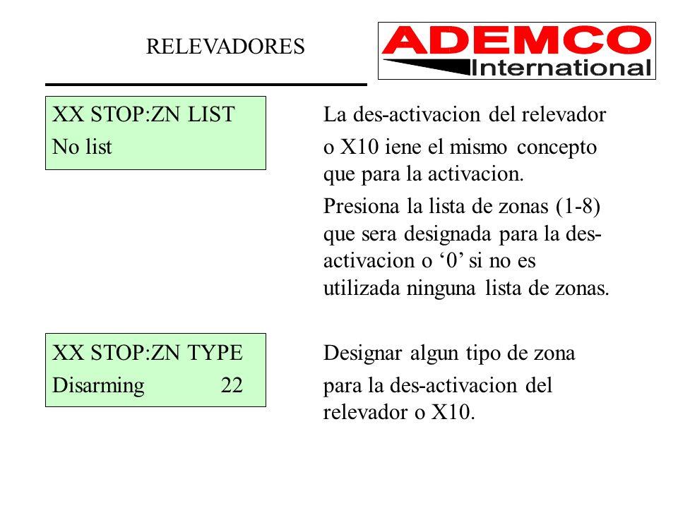 XX STOP:ZN LISTLa des-activacion del relevador No listo X10 iene el mismo concepto que para la activacion. Presiona la lista de zonas (1-8) que sera d