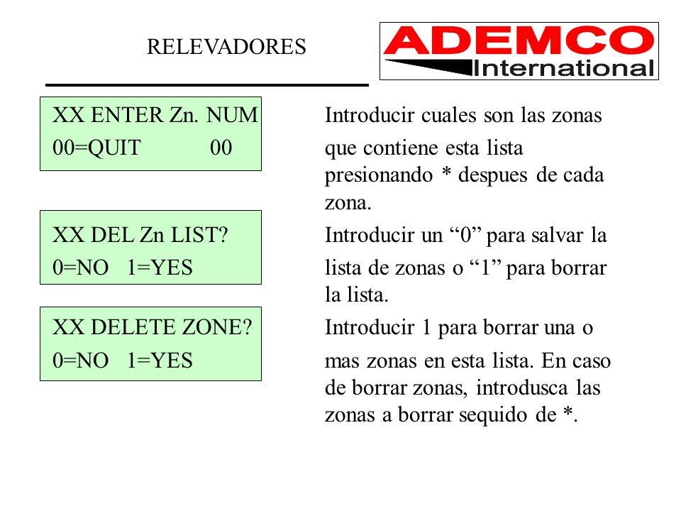 XX ENTER Zn. NUMIntroducir cuales son las zonas 00=QUIT 00que contiene esta lista presionando * despues de cada zona. XX DEL Zn LIST?Introducir un 0 p