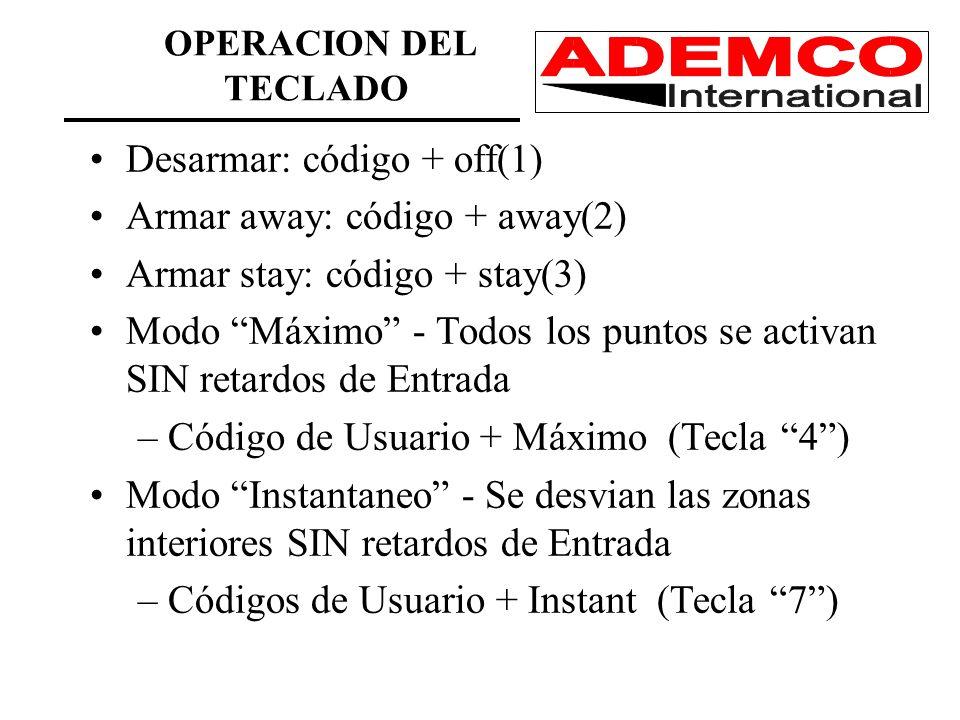 Desarmar: código + off(1) Armar away: código + away(2) Armar stay: código + stay(3) Modo Máximo - Todos los puntos se activan SIN retardos de Entrada –Código de Usuario + Máximo (Tecla 4) Modo Instantaneo - Se desvian las zonas interiores SIN retardos de Entrada –Códigos de Usuario + Instant (Tecla 7) OPERACION DEL TECLADO
