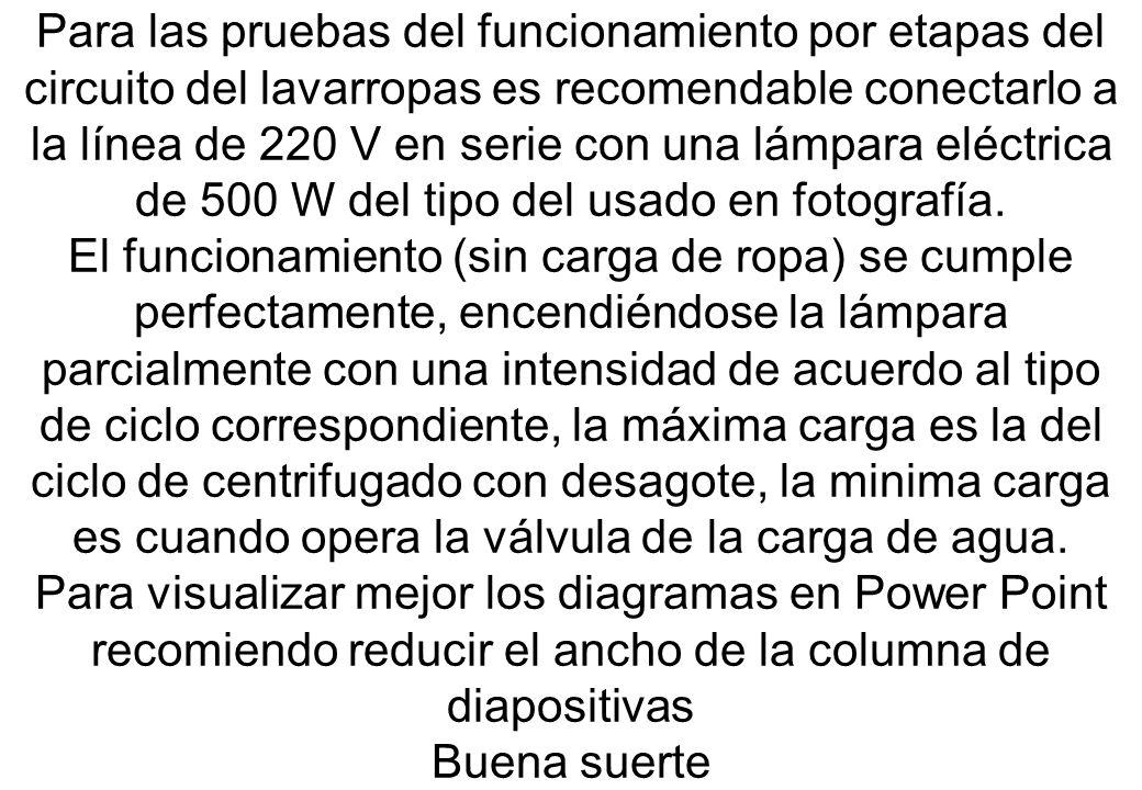 Para las pruebas del funcionamiento por etapas del circuito del lavarropas es recomendable conectarlo a la línea de 220 V en serie con una lámpara elé