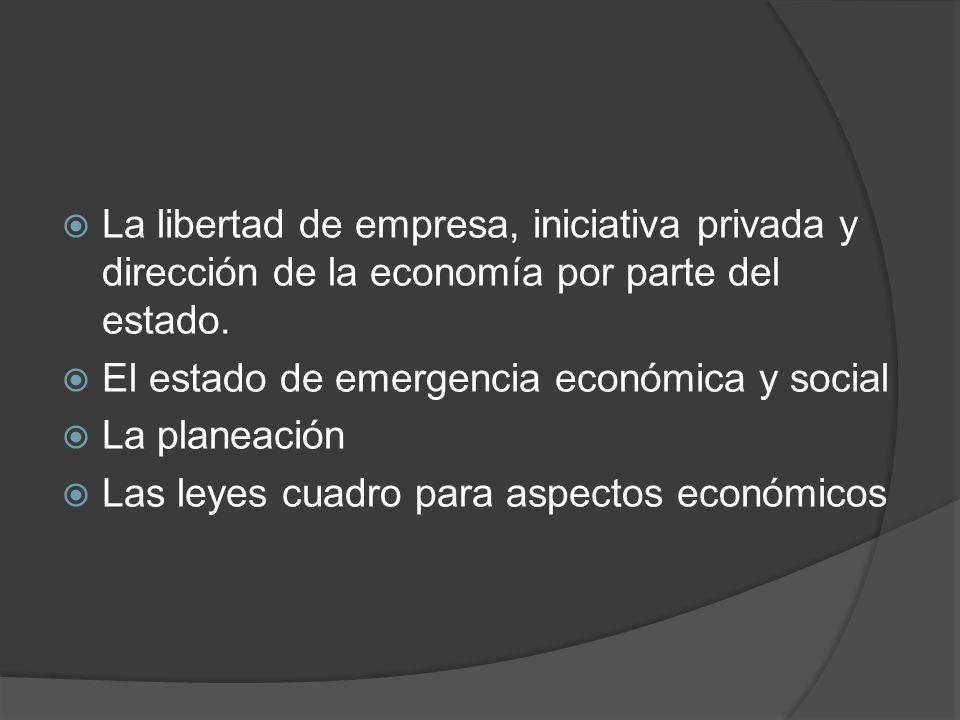 La libertad de empresa, iniciativa privada y dirección de la economía por parte del estado. El estado de emergencia económica y social La planeación L
