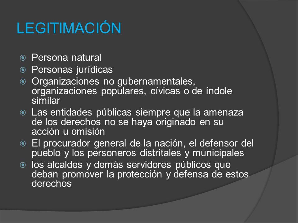 LEGITIMACIÓN Persona natural Personas jurídicas Organizaciones no gubernamentales, organizaciones populares, cívicas o de índole similar Las entidades