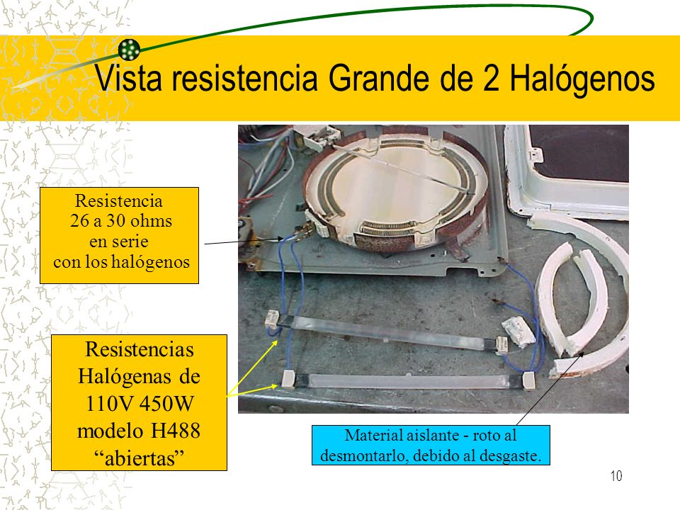 10 Vista resistencia Grande de 2 Halógenos Resistencias Halógenas de 110V 450W modelo H488 abiertas Resistencia 26 a 30 ohms en serie con los halógeno
