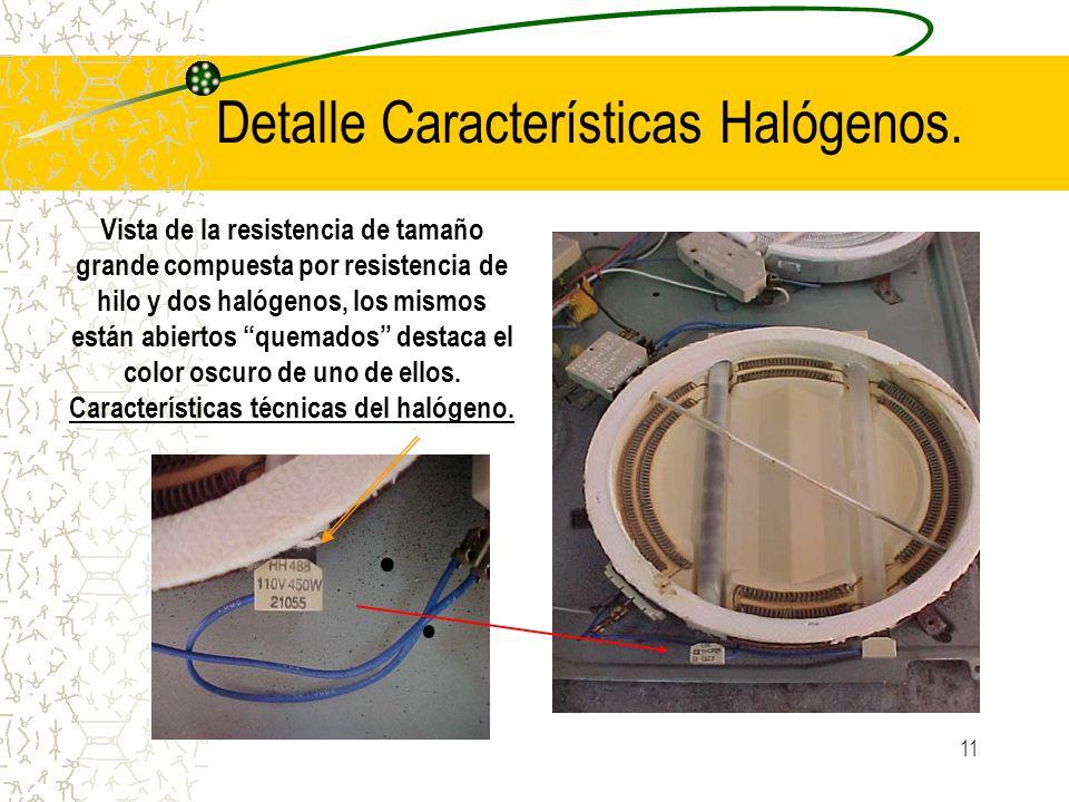 11 Detalle Características Halógenos. Vista de la resistencia de tamaño grande compuesta por resistencia de hilo y dos halógenos, los mismos están abi