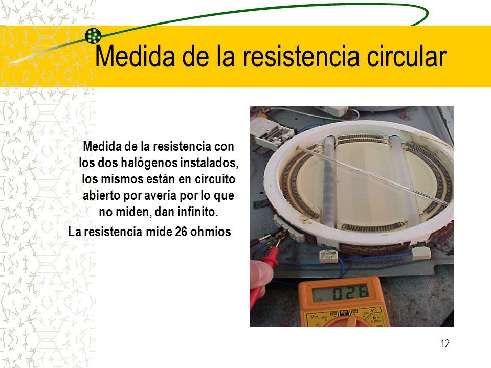 12 Medida de la resistencia circular Medida de la resistencia con los dos halógenos instalados, los mismos están en circuito abierto por avería por lo