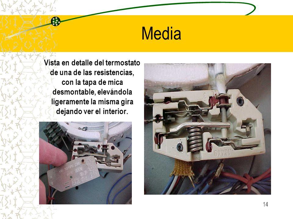 14 Media Vista en detalle del termostato de una de las resistencias, con la tapa de mica desmontable, elevándola ligeramente la misma gira dejando ver