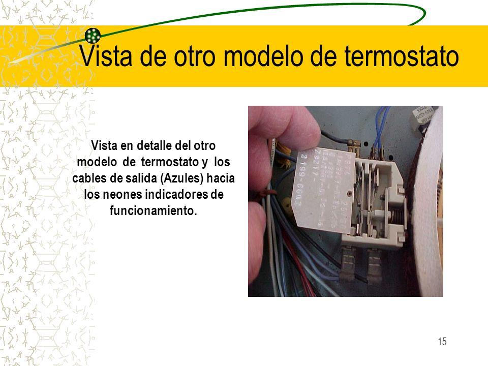15 Vista de otro modelo de termostato Vista en detalle del otro modelo de termostato y los cables de salida (Azules) hacia los neones indicadores de f