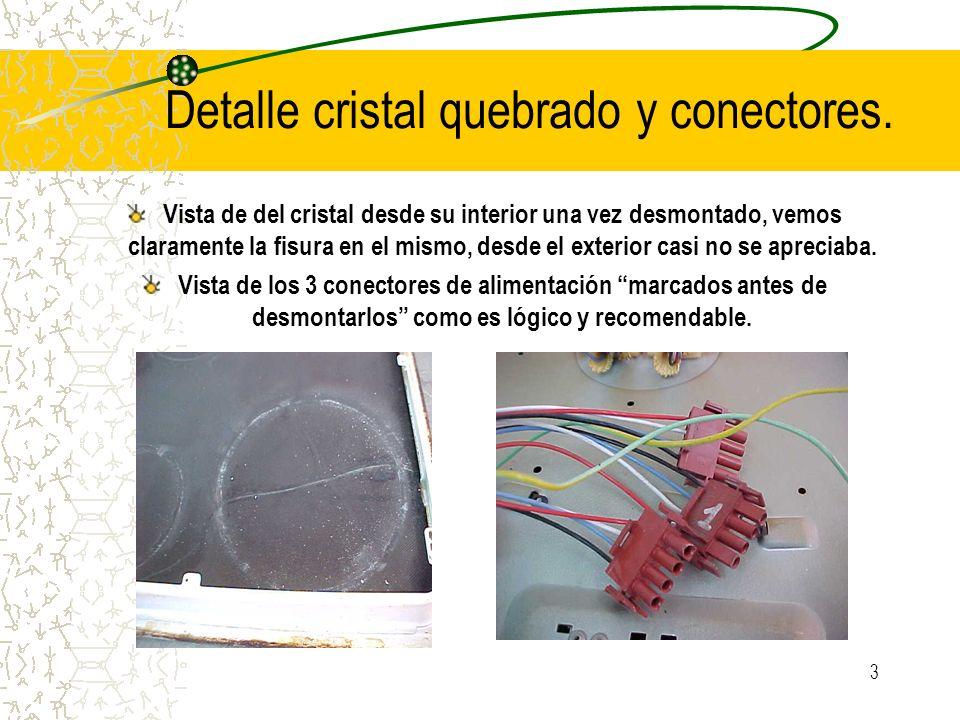 3 Detalle cristal quebrado y conectores. Vista de del cristal desde su interior una vez desmontado, vemos claramente la fisura en el mismo, desde el e