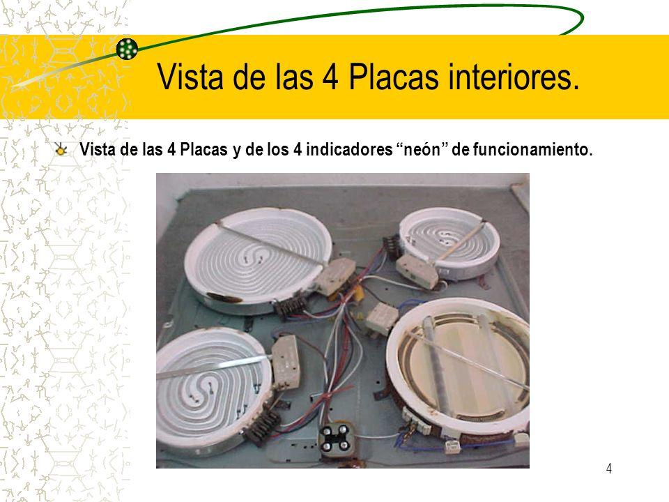 4 Vista de las 4 Placas interiores. Vista de las 4 Placas y de los 4 indicadores neón de funcionamiento.