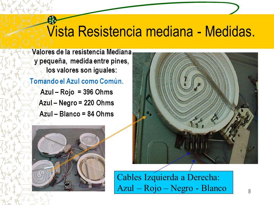 8 Vista Resistencia mediana - Medidas. Valores de la resistencia Mediana y pequeña, medida entre pines, los valores son iguales: Tomando el Azul como