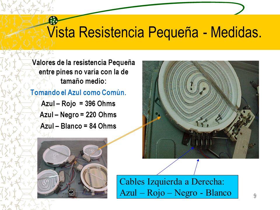 9 Vista Resistencia Pequeña - Medidas. Valores de la resistencia Pequeña entre pines no varía con la de tamaño medio: Tomando el Azul como Común. Azul