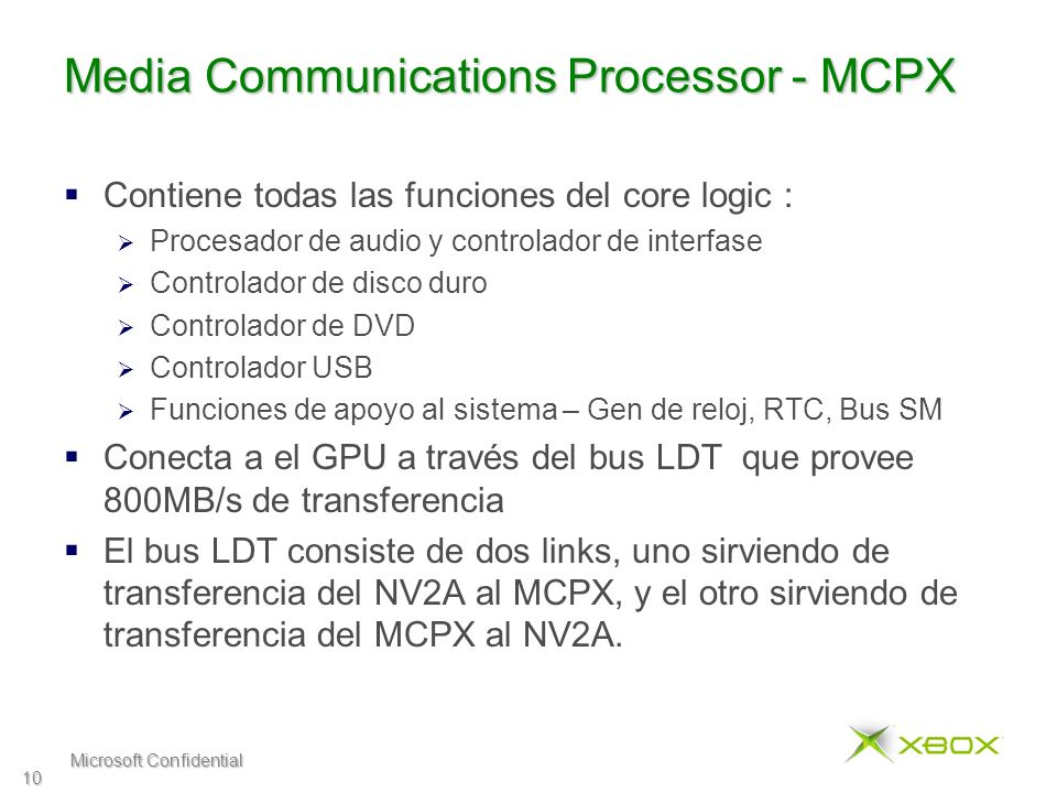Microsoft Confidential 10 Media Communications Processor - MCPX Contiene todas las funciones del core logic : Procesador de audio y controlador de int