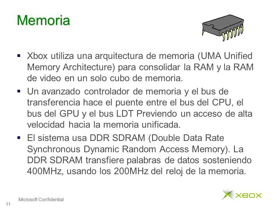 Microsoft Confidential 11 Memoria Xbox utiliza una arquitectura de memoria (UMA Unified Memory Architecture) para consolidar la RAM y la RAM de video en un solo cubo de memoria.