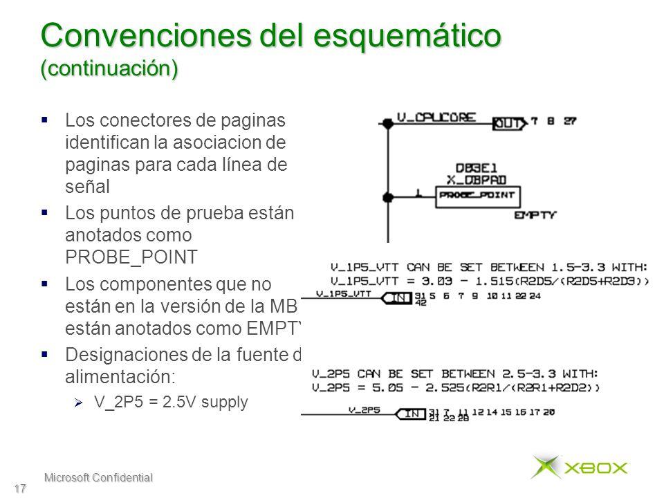 Microsoft Confidential 17 Convenciones del esquemático (continuación) Los conectores de paginas identifican la asociacion de paginas para cada línea de señal Los puntos de prueba están anotados como PROBE_POINT Los componentes que no están en la versión de la MB están anotados como EMPTY Designaciones de la fuente de alimentación: V_2P5 = 2.5V supply