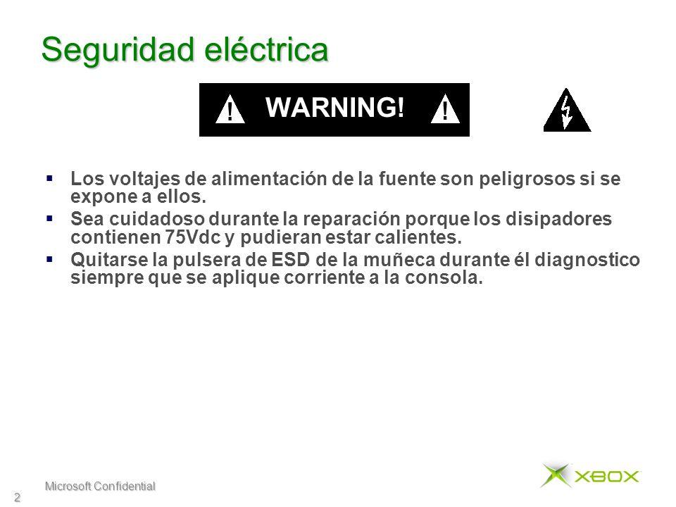 Microsoft Confidential 2 Seguridad eléctrica Los voltajes de alimentación de la fuente son peligrosos si se expone a ellos.