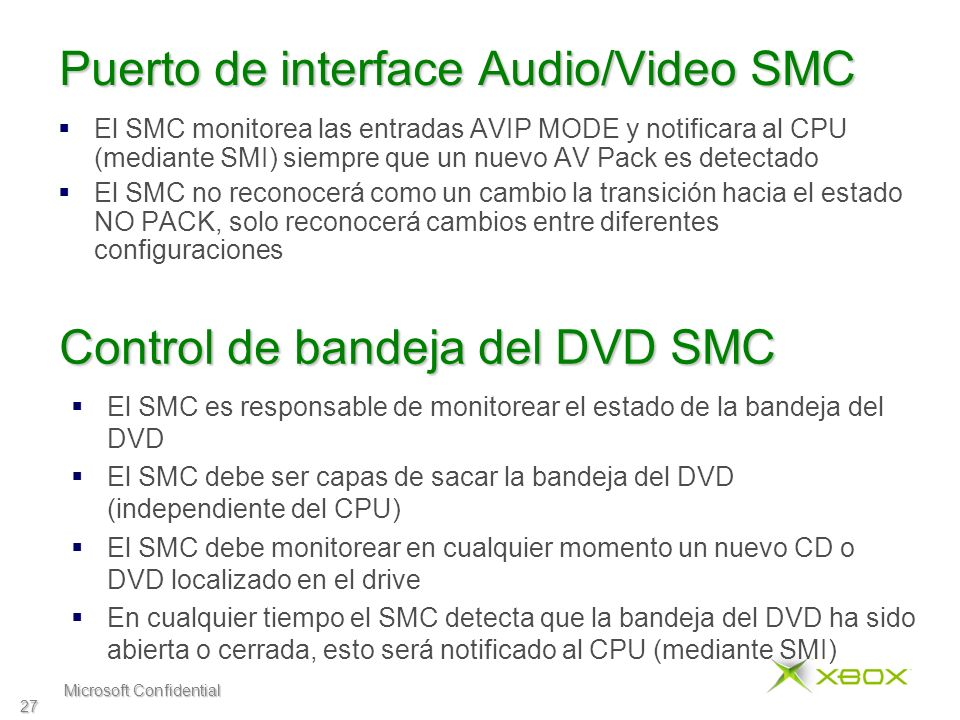 Microsoft Confidential 27 Puerto de interface Audio/Video SMC El SMC monitorea las entradas AVIP MODE y notificara al CPU (mediante SMI) siempre que u