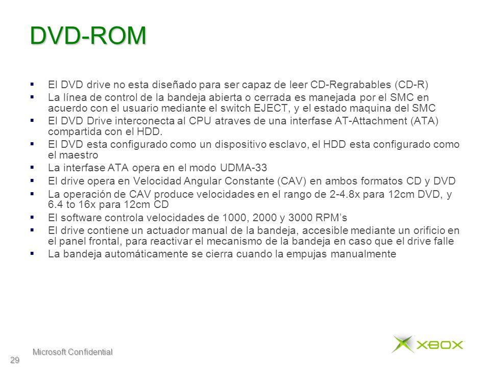 Microsoft Confidential 29 DVD-ROM El DVD drive no esta diseñado para ser capaz de leer CD-Regrabables (CD-R) La línea de control de la bandeja abierta o cerrada es manejada por el SMC en acuerdo con el usuario mediante el switch EJECT, y el estado maquina del SMC El DVD Drive interconecta al CPU atraves de una interfase AT-Attachment (ATA) compartida con el HDD.