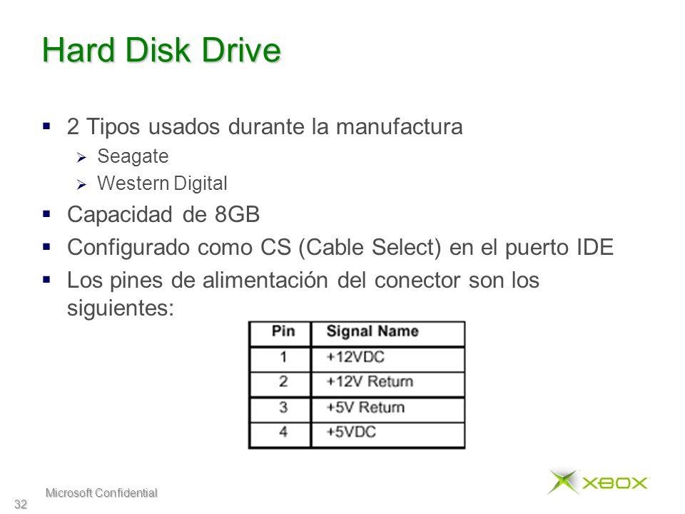 Microsoft Confidential 32 Hard Disk Drive 2 Tipos usados durante la manufactura Seagate Western Digital Capacidad de 8GB Configurado como CS (Cable Select) en el puerto IDE Los pines de alimentación del conector son los siguientes: