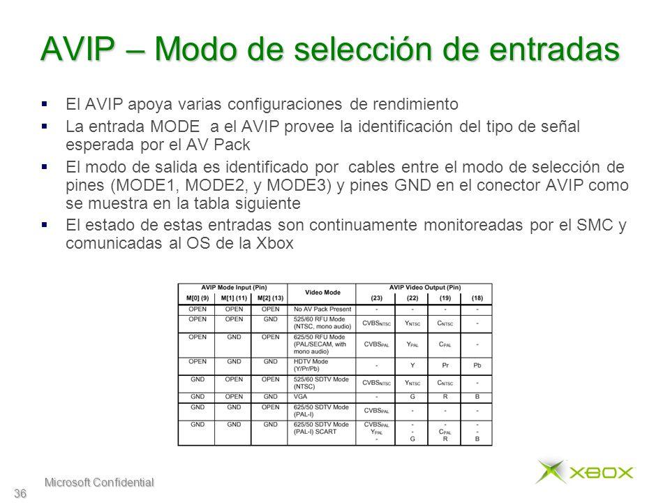 Microsoft Confidential 36 AVIP – Modo de selección de entradas El AVIP apoya varias configuraciones de rendimiento La entrada MODE a el AVIP provee la identificación del tipo de señal esperada por el AV Pack El modo de salida es identificado por cables entre el modo de selección de pines (MODE1, MODE2, y MODE3) y pines GND en el conector AVIP como se muestra en la tabla siguiente El estado de estas entradas son continuamente monitoreadas por el SMC y comunicadas al OS de la Xbox