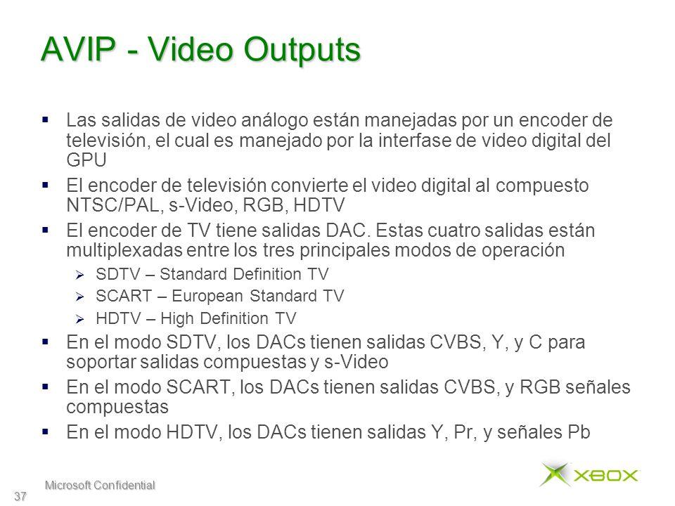 Microsoft Confidential 37 AVIP - Video Outputs Las salidas de video análogo están manejadas por un encoder de televisión, el cual es manejado por la interfase de video digital del GPU El encoder de televisión convierte el video digital al compuesto NTSC/PAL, s-Video, RGB, HDTV El encoder de TV tiene salidas DAC.