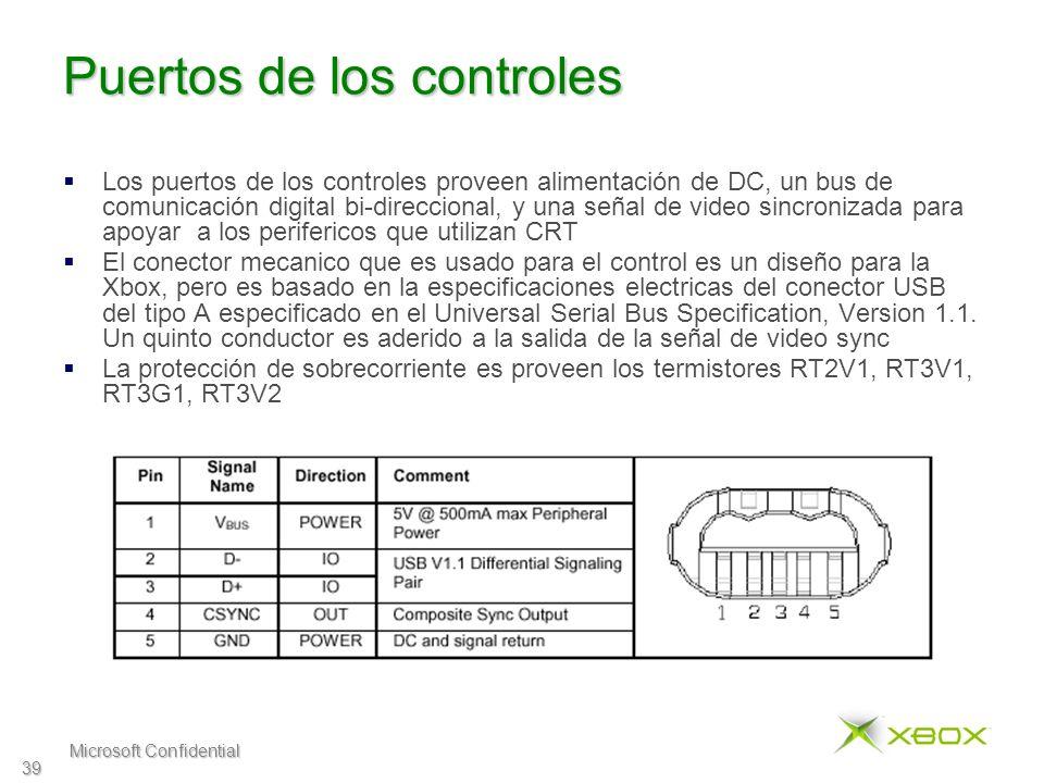 Microsoft Confidential 39 Puertos de los controles Los puertos de los controles proveen alimentación de DC, un bus de comunicación digital bi-direccional, y una señal de video sincronizada para apoyar a los perifericos que utilizan CRT El conector mecanico que es usado para el control es un diseño para la Xbox, pero es basado en la especificaciones electricas del conector USB del tipo A especificado en el Universal Serial Bus Specification, Version 1.1.