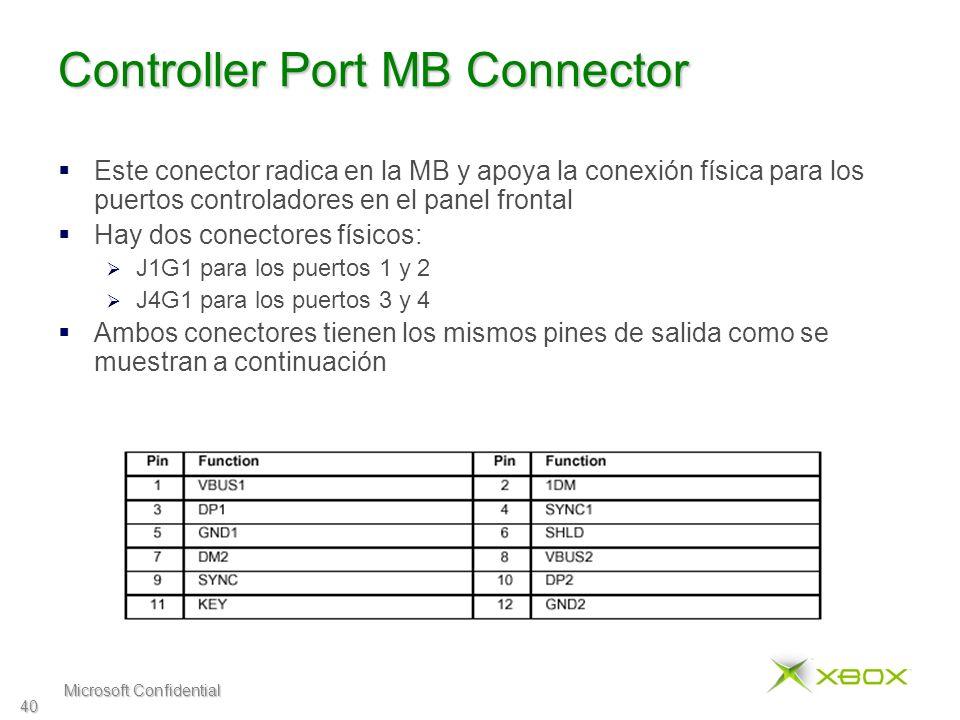 Microsoft Confidential 40 Controller Port MB Connector Este conector radica en la MB y apoya la conexión física para los puertos controladores en el panel frontal Hay dos conectores físicos: J1G1 para los puertos 1 y 2 J4G1 para los puertos 3 y 4 Ambos conectores tienen los mismos pines de salida como se muestran a continuación