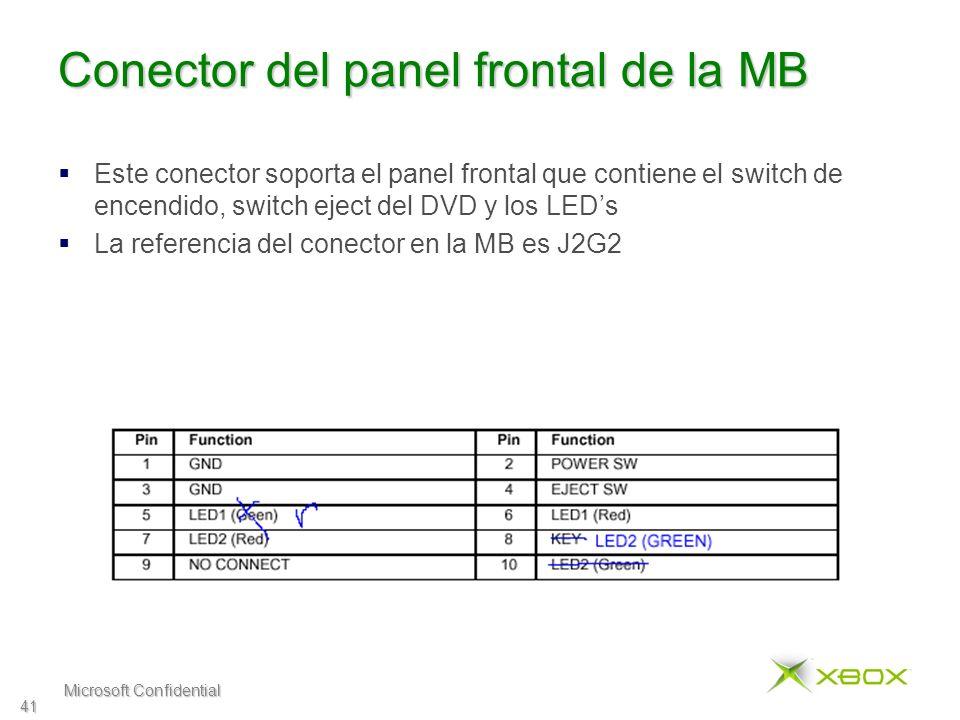 Microsoft Confidential 41 Conector del panel frontal de la MB Este conector soporta el panel frontal que contiene el switch de encendido, switch eject del DVD y los LEDs La referencia del conector en la MB es J2G2