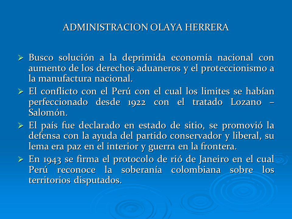 ADMINISTRACION OLAYA HERRERA Busco solución a la deprimida economía nacional con aumento de los derechos aduaneros y el proteccionismo a la manufactur