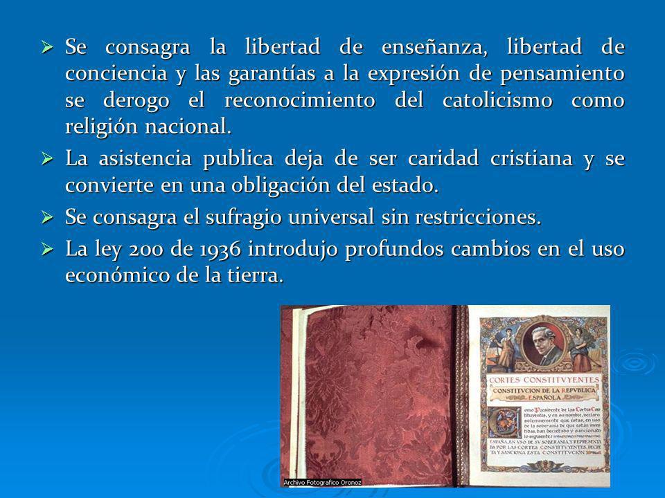 Se consagra la libertad de enseñanza, libertad de conciencia y las garantías a la expresión de pensamiento se derogo el reconocimiento del catolicismo