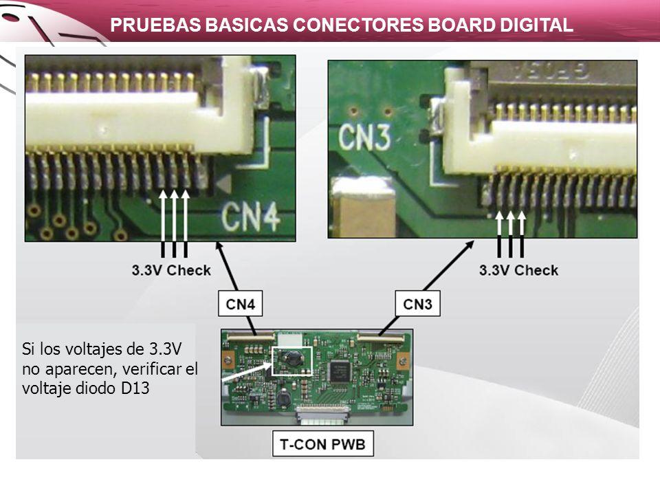 PRUEBAS BASICAS CONECTORES BOARD DIGITAL Si los voltajes de 3.3V no aparecen, verificar el voltaje diodo D13