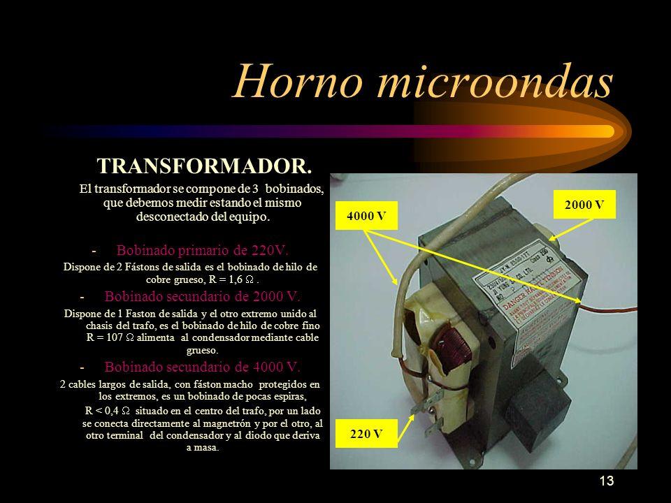 13 Horno microondas TRANSFORMADOR. El transformador se compone de 3 bobinados, que debemos medir estando el mismo desconectado del equipo. -Bobinado p