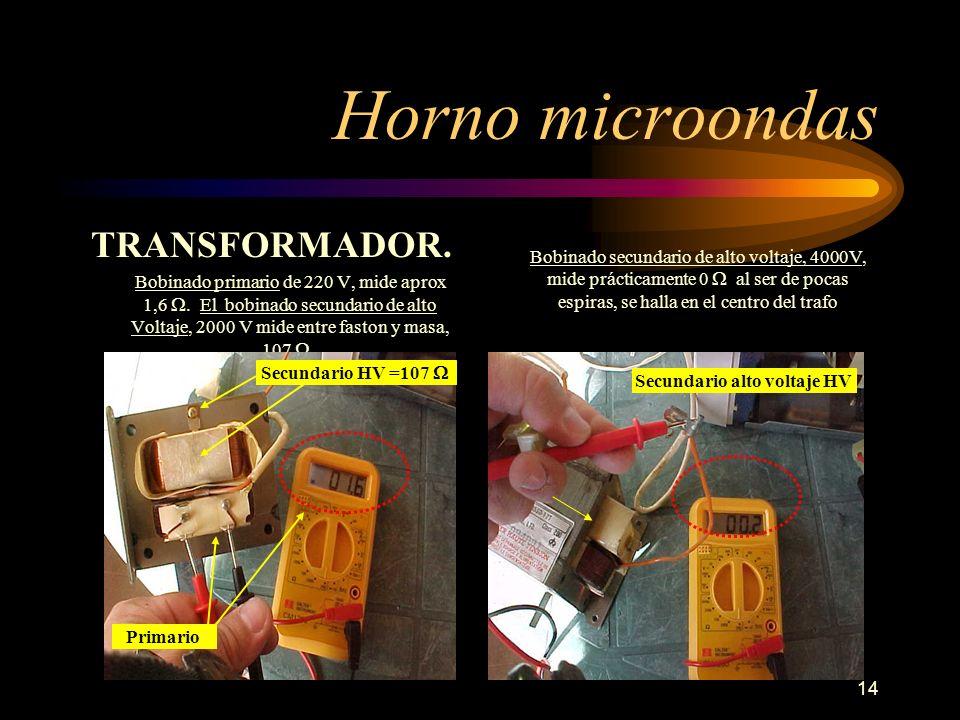14 Horno microondas TRANSFORMADOR. Bobinado primario de 220 V, mide aprox 1,6. El bobinado secundario de alto Voltaje, 2000 V mide entre faston y masa