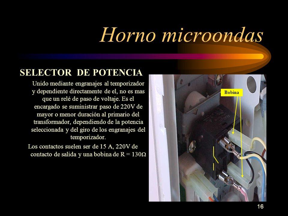 16 Horno microondas SELECTOR DE POTENCIA Unido mediante engranajes al temporizador y dependiente directamente de el, no es mas que un relé de paso de