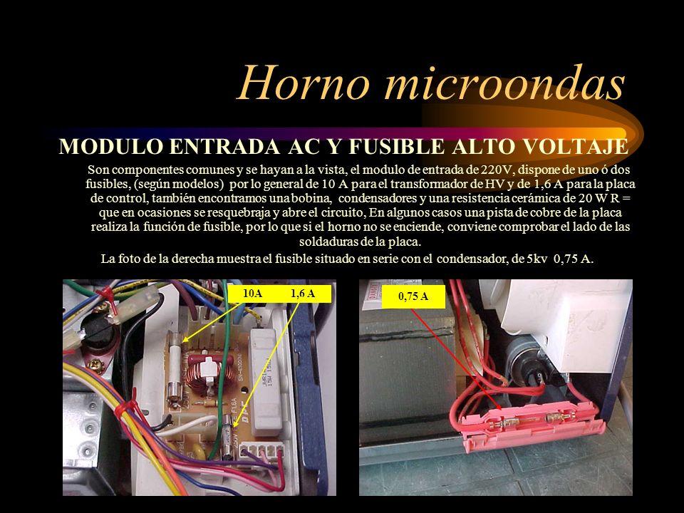 19 Horno microondas MODULO ENTRADA AC Y FUSIBLE ALTO VOLTAJE Son componentes comunes y se hayan a la vista, el modulo de entrada de 220V, dispone de u
