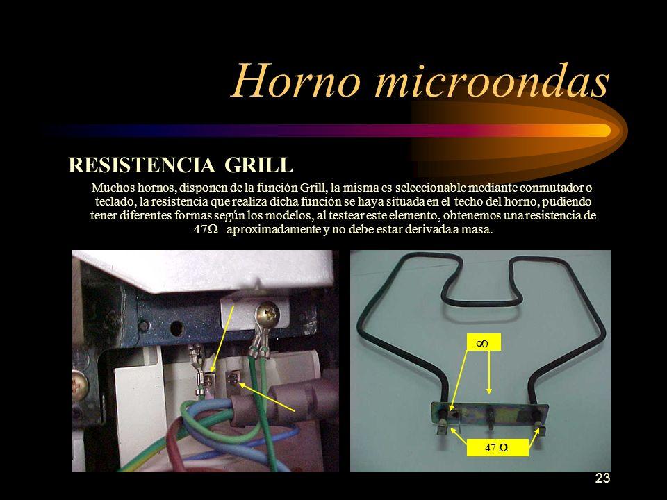23 Horno microondas RESISTENCIA GRILL Muchos hornos, disponen de la función Grill, la misma es seleccionable mediante conmutador o teclado, la resiste