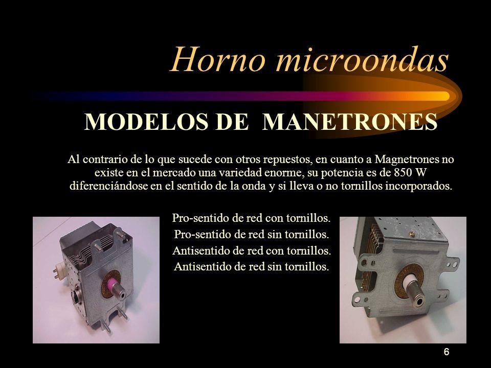 6 Horno microondas MODELOS DE MANETRONES Al contrario de lo que sucede con otros repuestos, en cuanto a Magnetrones no existe en el mercado una varied