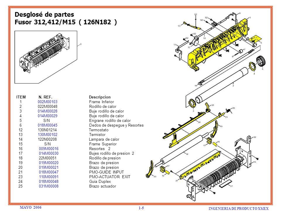 Desglosé de partes Fusor 312,412/M15 ( 126N182 ) ITEM N. REF. Descripcion 1 002M00103 Frame Inferior 2 022M00048 Rodillo de calor 3 014M00028 Buje rod