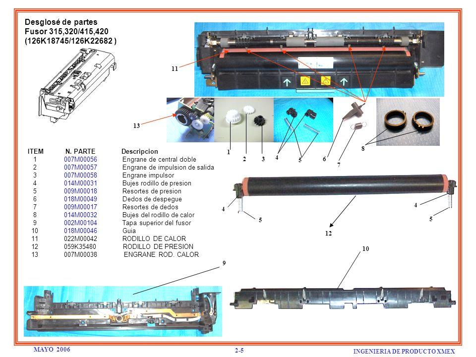 Desglosé de partes Fusor 315,320/415,420 (126K18745/126K22682 ) ITEM N. PARTE Descripcion 1 007M00056 Engrane de central doble 2 007M00057 Engrane de