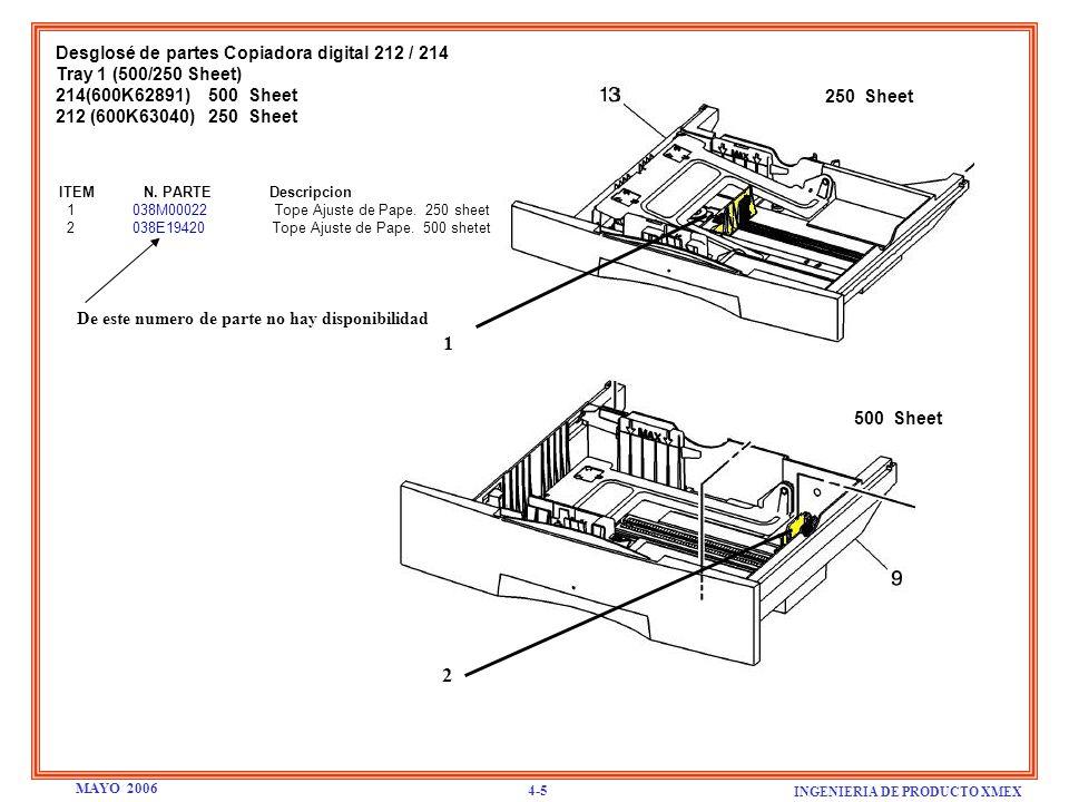 Desglosé de partes Copiadora digital 212 / 214 Tray 1 (500/250 Sheet) 214(600K62891) 500 Sheet 212 (600K63040) 250 Sheet ITEM N. PARTE Descripcion 1 0