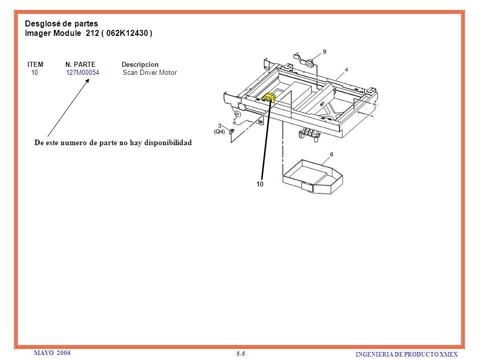 Desglosé de partes Modulo del Fusor 212 ( 126K13151 ) ITEM N.