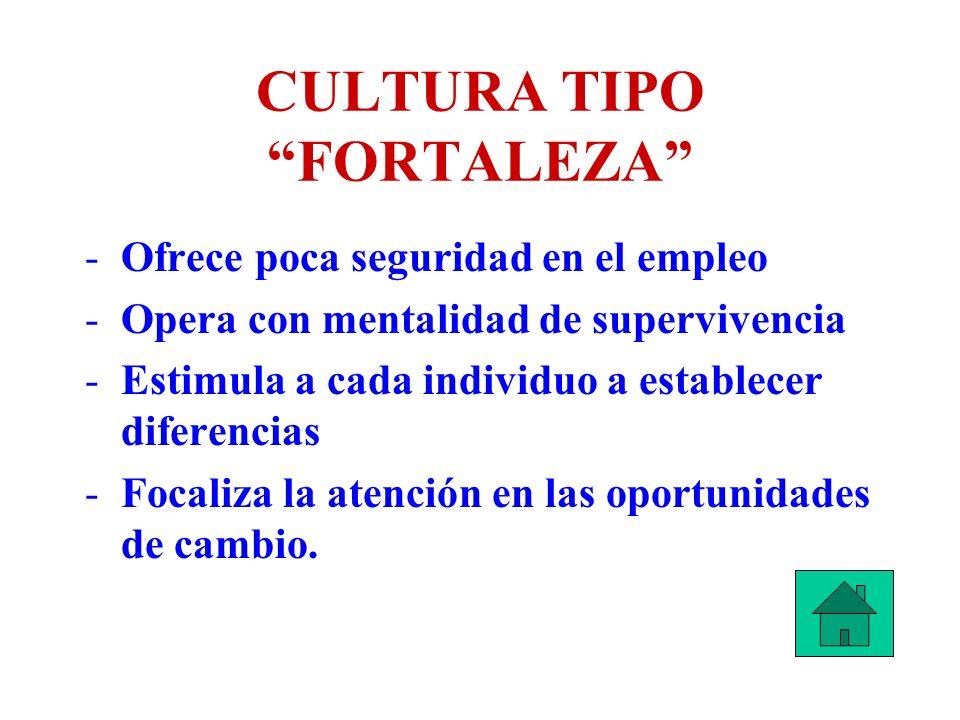 CULTURA TIPO FORTALEZA -Ofrece poca seguridad en el empleo -Opera con mentalidad de supervivencia -Estimula a cada individuo a establecer diferencias