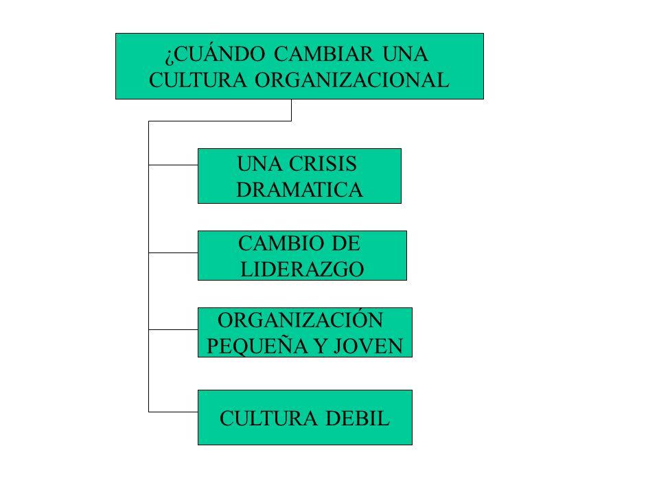 ¿CUÁNDO CAMBIAR UNA CULTURA ORGANIZACIONAL UNA CRISIS DRAMATICA CAMBIO DE LIDERAZGO ORGANIZACIÓN PEQUEÑA Y JOVEN CULTURA DEBIL