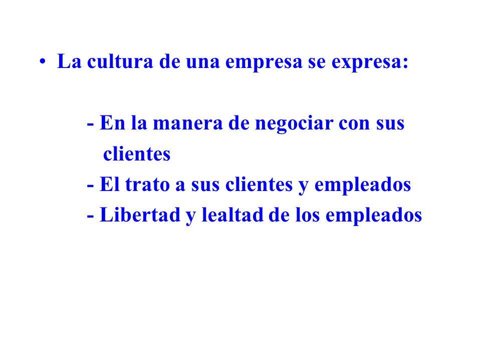 La cultura de una empresa se expresa: - En la manera de negociar con sus clientes - El trato a sus clientes y empleados - Libertad y lealtad de los em
